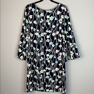 Talbots navy blue white floral L sleeve dress 10